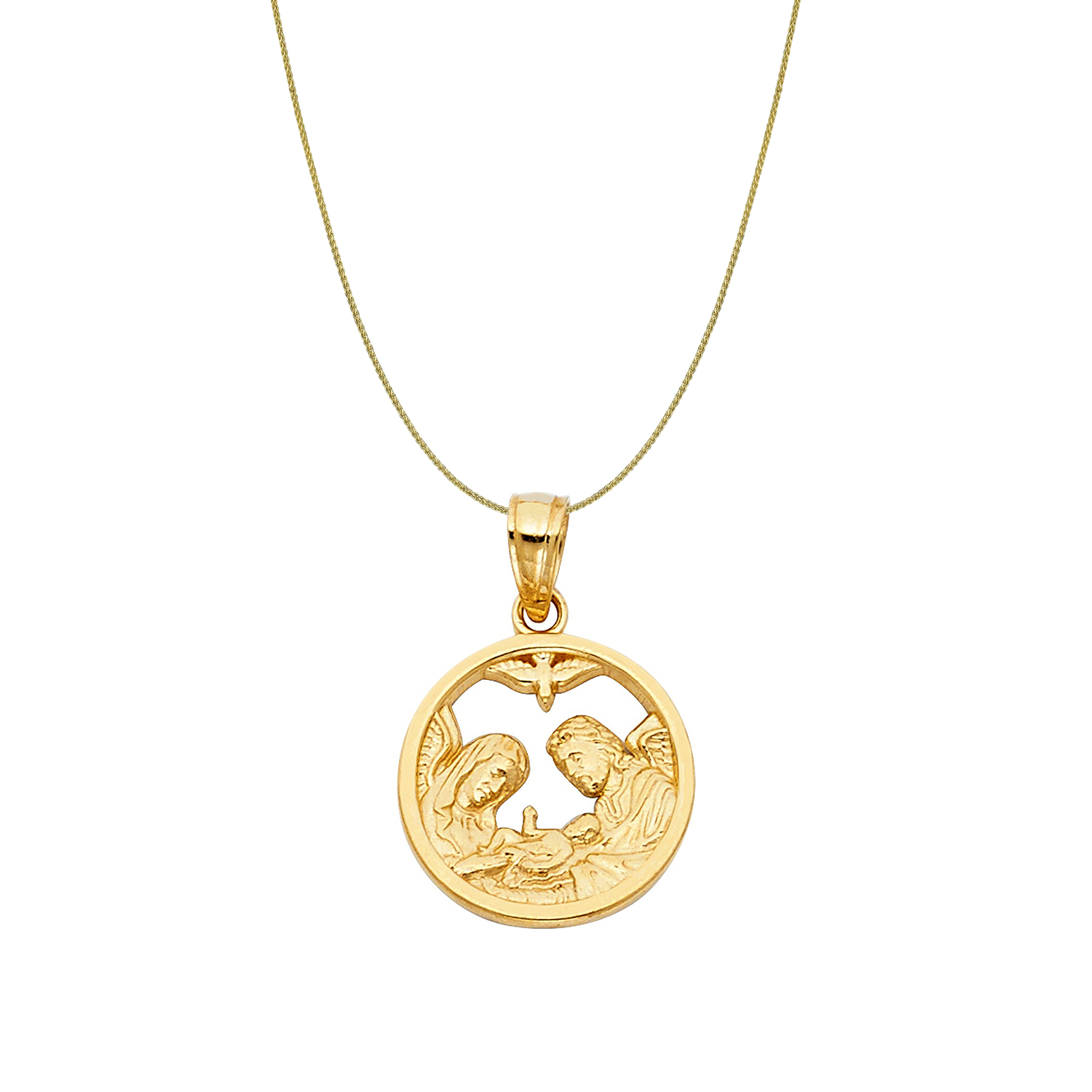 14K Yellow Gold Baptism Charm Pendant with 0.9mm Wheat Chain Necklace