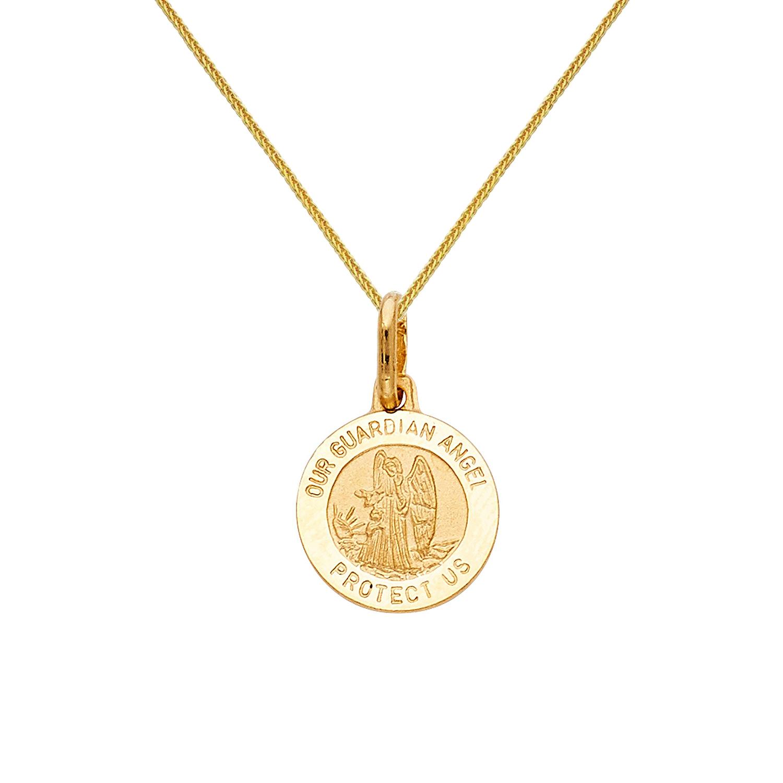 Precious Stars 14k White Gold Cubic Zirconia Cross Pendant with 0.80-mm Square Wheat Chain