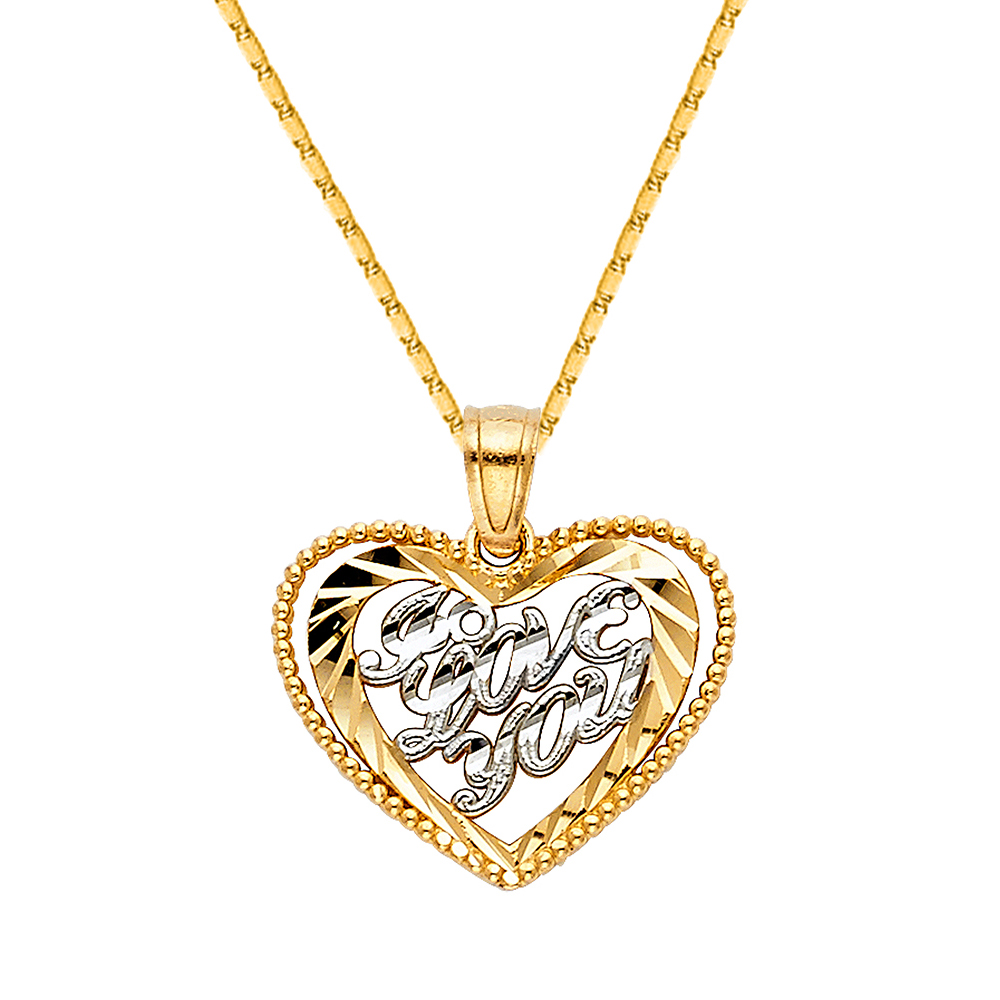 14K Two Tone Gold Fancy Design Heart Charm Pendant with 1.5mm Flat Open Wheat Chain Necklace