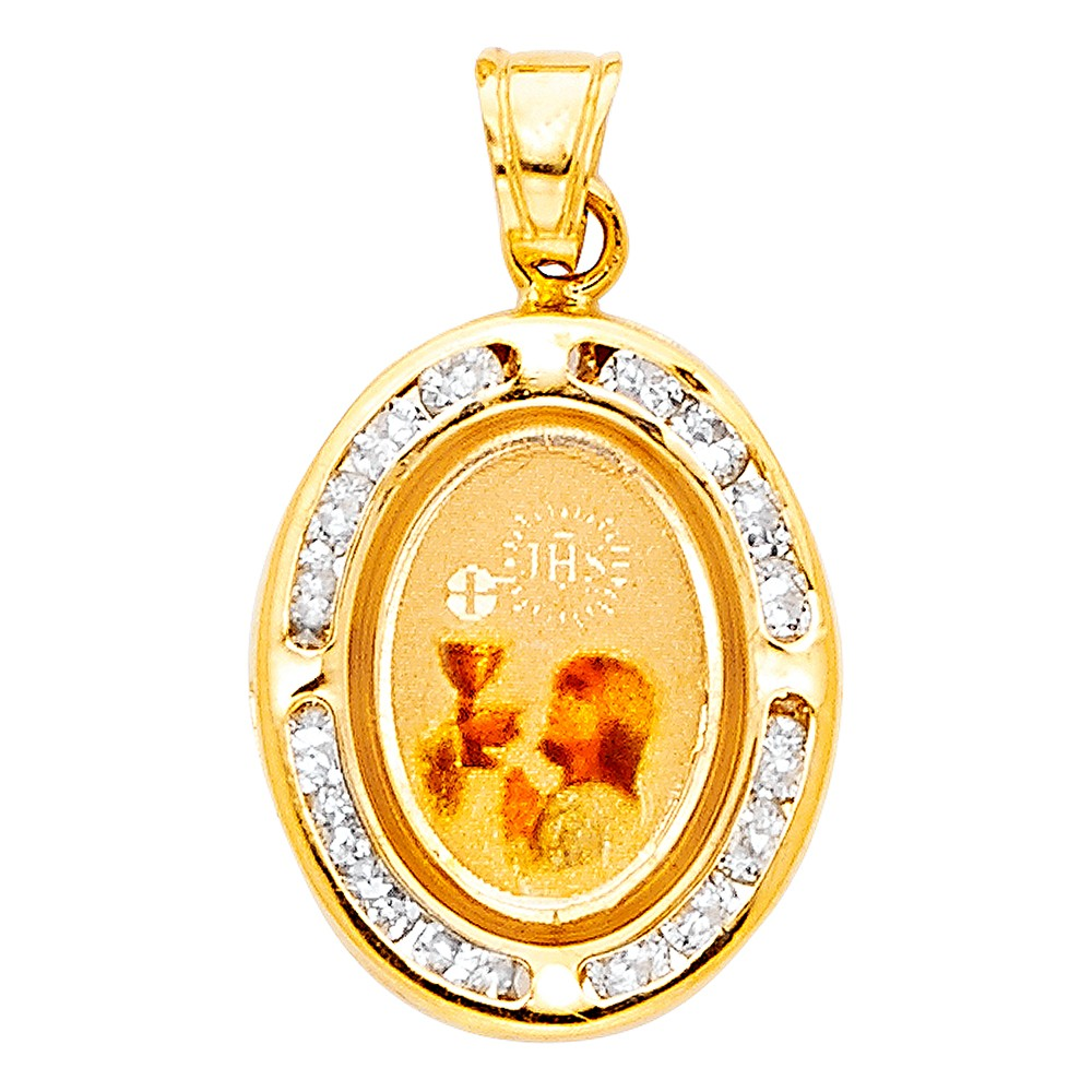 14K Yellow Gold Communion Cubic Zirconia CZ Religious Girl Charm Pendant For Necklace or Chain