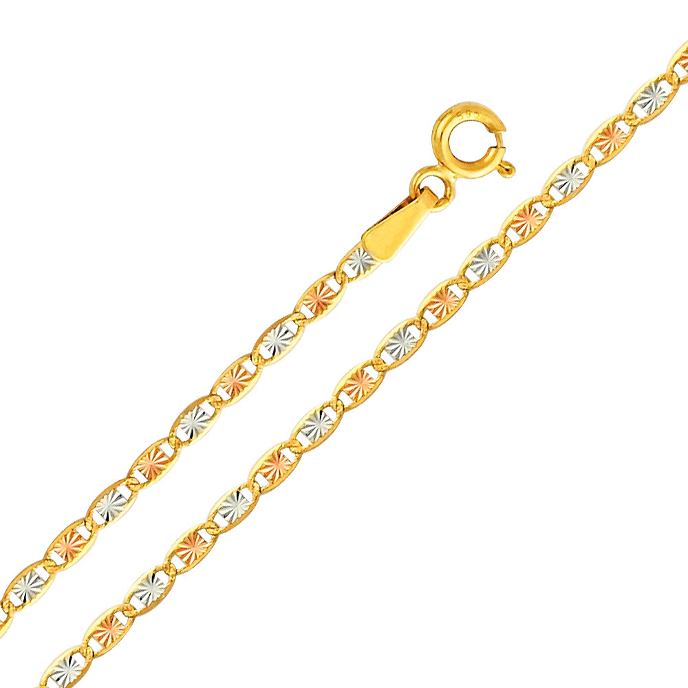 Figaro Chain Solid 14k Yellow /& White Gold Necklace Thin Two Tone 2.1 mm
