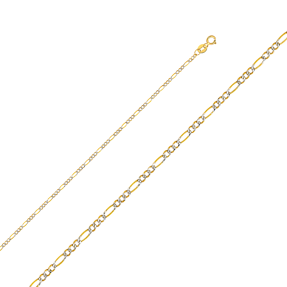 Precious Stars 14k Two-tone Gold 3-mm Hollow Figaro Chain Necklace 24 inch