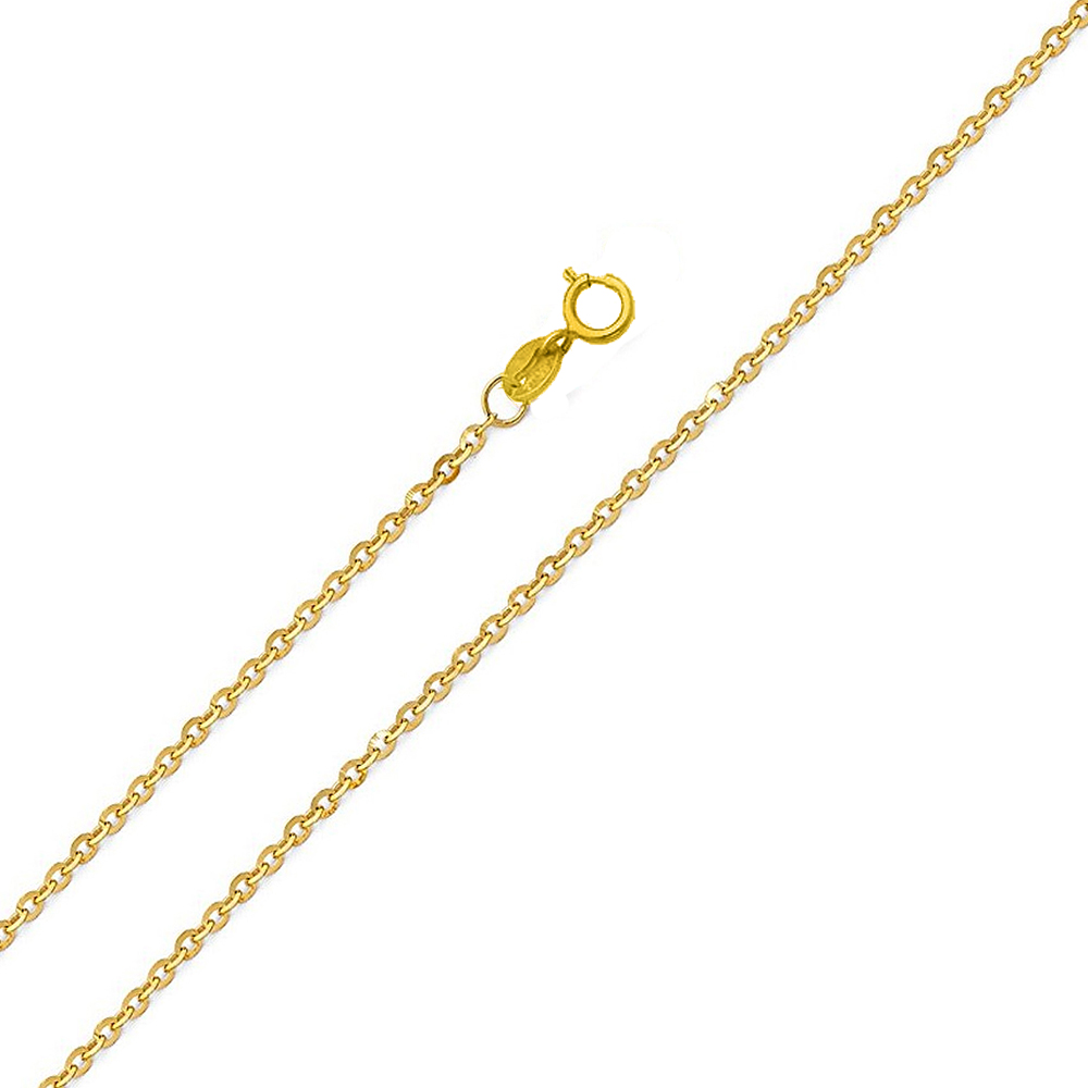 1.2 mm Cable Necklace Solid 14k Yellow Gold Rolo Chain Diamond Cut Thin