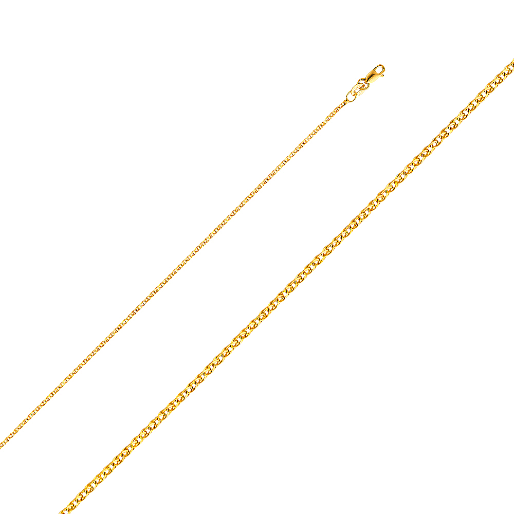 Precious Stars Jewelry 14k Tri-tone Gold Polished Sun and Moon Pendant with Flat Wheat Chain
