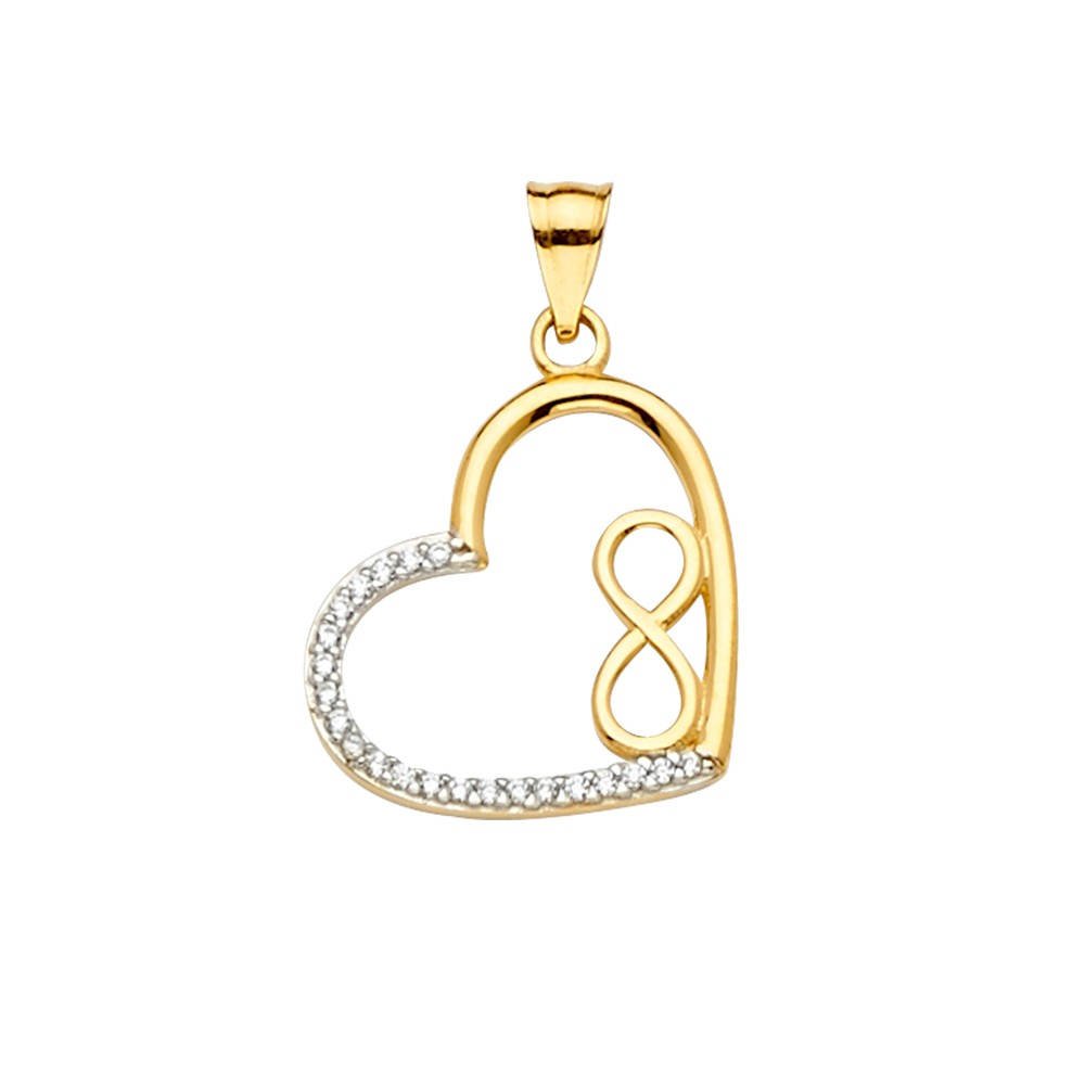 14K Two Tone Gold Fancy Inside Heart Charm Pendant For Necklace or Chain