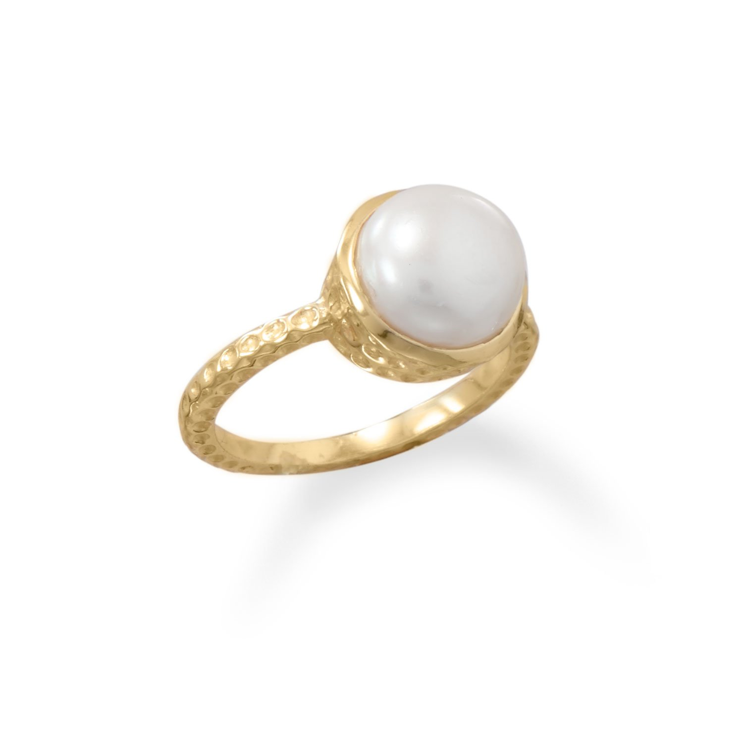 925 sterling silver ring with freshwater pearl ring freshwater pearl ring size 6.25 us genuine cultured freshwater pearl ring with yellow gold plated accent enchanting 12 mm round pearl,
