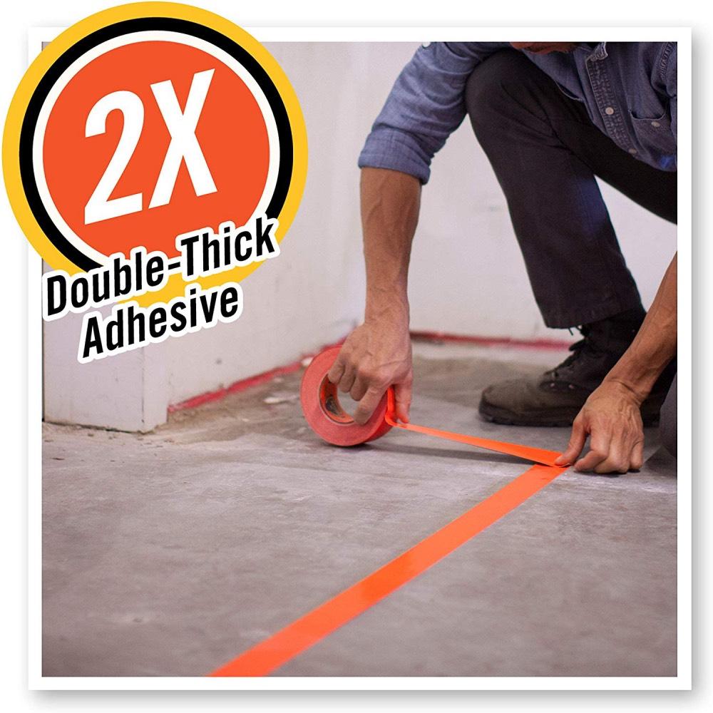 High Visibility Gorilla Tape Orange Cautionary Floor Marking 1.88in x 35yd 3-PK