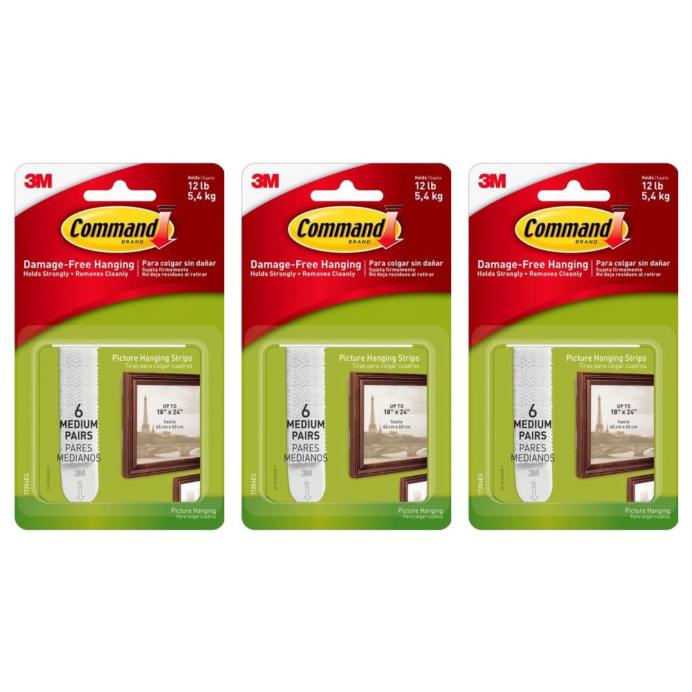 Command Picture Hanging Strips 6-Strips Medium White 17204ES